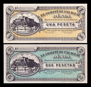 B-D-M España Spain Civil War Lot 5 x Denia Set 2 Billetes 1 & 2 Pesetas 1936 UNC