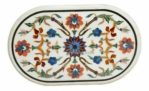 18 x 30 Inches Marble Patio Table Top Inlay Coffee Table with Multi Color Stones