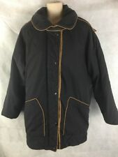 Women's Learsi Winter Coat Black Brown Cotton Poly Blend Size Small Hip Length