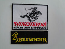 2 Winchester Browning Gun Patches Iron / Sew On Patch Pistol Rifle Shooting Club