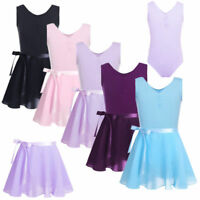 Girls Ballet Dance Dress Kids Leotard+Tutu Wrap Skirt Gym Dancewear Costume