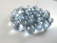 AAA Aquamarine Quartz Micro Faceted Top Drilled Teardrop Beads 18x10mm 2 Pcs