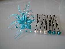 Lot Pic/accessoire Cheveux chignon Mariée/Mariage couleur Ivoire/Turquoise fleur