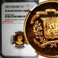 DOMINICAN REPUBLIC PROOF 1981 1 Centavo NGC PF69 RD ULTRA CAMEO TOP GRADED KM#48