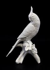 9959235 Porzellan Figur Nymphemsittich weiß bisquit Vogel Ens H23,5cm