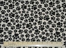 1 yard 100% cotton flannel fabric Paw Prints black white dogs cats animals sew
