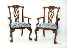 Set of 2 Custom Covered Mahogany Chippendale Captains Chairs Blue Claw Foot