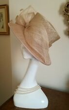 BALFOUR Beige Wide Brim Wedding Hat Ascot Fabulous NWOT