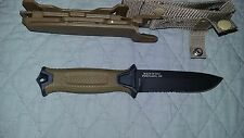 Gerber StrongArm Fixed Blade Knife Partial Serrated Blade,  Brown/OD Green