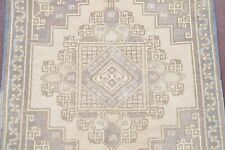 Vintage Tea-Washed Color Muted Oushak Turkish Hand-Knotted 2'x2' Square Rug Wool