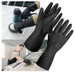 Heavy Duty Black Rubber Gloves Household Reusable Cleaning Garden DIY Waterproof