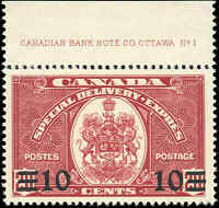 Stamp Canada Mint NH 1939 VF Scott #E9 10c on 20c Special Delivery Stamp