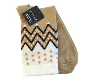 B. Ella Ladies 72% X-Fine Merino Wool Blend Crew Socks Karena Khaki Black Ivory