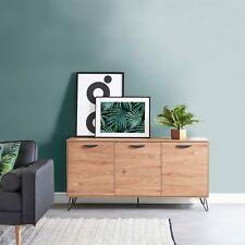 VonHaus Capri 3 Door Sideboard - Oak Effect Finish With Black Hairpin Legs Retro