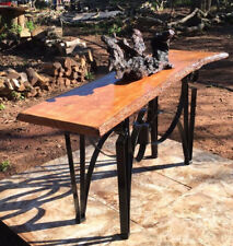 Oak Slab Table - Hall / Sofa / Reception Table - Live Edge Wood with Steel Base