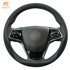 Black Suede Leather Steering wheel Cover for Cadillac ATS CTS 2014-2016 #XC02