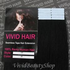 10pcs 18 inches Remy Seamless Tape Skin Weft Human Hair Extensions Jet Black #1