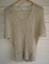 Cotton On Women's Cream/Beige Open-Knit Top - Size M
