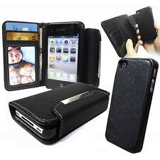 Étui portefeuille en cuir noir avec couverture dur détachable pour Apple iPhone 4S 4 4G