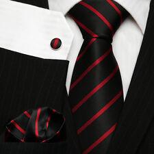 Homme College Club Cravate Ensemble; Noir Et Rouge Fin À Rayures Cravate En Soie