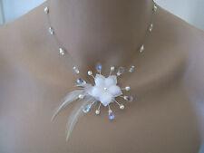 Collier Blanc/Cristal p robe de Mariée/Mariage/Soirée Fleur + perles nacré