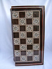 """Egyptian Inlaid Mother Of Pearl Wooden Chess Backgammon Board 16"""" High Quality"""