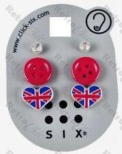 3prs! botón rojo corazón de Union Jack Crystal Broches Aretes kitshc Retro