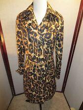 DIANE VON FURSTENBERG Leopard Print Belted COTTON Trench Coat Sz 10