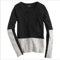 J.Crew Women's Size XS Black and Gray Color Block Sweater Wool Cashmere #04035