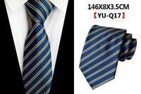Tie Blue Yellow Silver Stripe Pattern Handmade 100% Silk Mens Necktie UK Seller