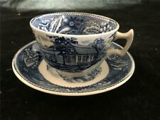 Wood & Sons Old Sturbridge Village Tea Cup & Saucer Blue Transferware