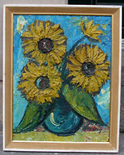 Max Ulvig (1913 - 1969) Expressionist still-life with sunflowers. Paris school