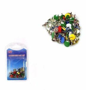 Coloured Drawing Pins 9mm Assorted Mix Thumb Tacks x50 + Multi Color Deals