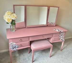 Stag Minstrel Dressing Table With 3 Way Mirror And Stool Painted Dusky Pink