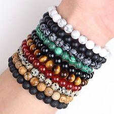 Natural Lava Agate Tiger Eye Round Beads Stone Stretch Bangle Bracelet DIY 8MM