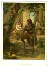 Pfifferari, Szene in Italien, Original-Lithographie von 1862