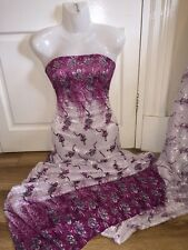 """1 MTR WHITE/PINK NYLON SPANDEX DOUBLE BORDER PRINTED DRESS LACE FABRIC.58"""" WIDE"""