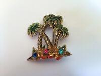 Vintage PALM TREES Enamel & Rhinestones Pot Metal Brooch Pin * C Clasp