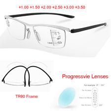 Progressive Reading Glasses +1.0 +1.5 to +3.5 Metal Half Frame TR90 Spectacles