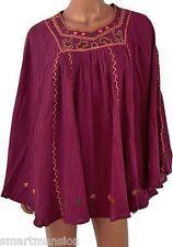 New TopShop Ladies Cotton Embroidered Kaftan Batwing Kimono DressesTop Size 8-16