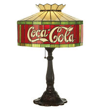 """Coca Cola Coke Table Lamp Stain Glass Light Stained Glass Accent Lighting 24.5""""H"""