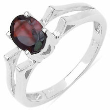 .925 Sterling Silver Solitaire Oval-Cut Red Garnet Ring Band Size 7 1.00CTW