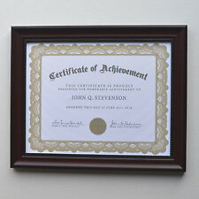 Elegant Rosewood Coloured frame for diploma/certificate with plexiglass