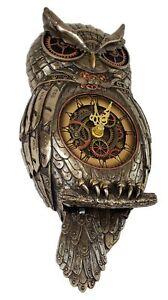 """12.5"""" Steampunk Owl Gear Pendulum Wall Clock Statue Sculpture"""