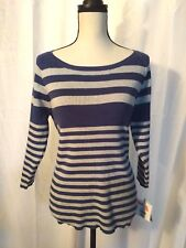 NEW LIZ CLAIBORNE Womens Blue Gray Striped Sweater Top PXL Shirt petite XL P
