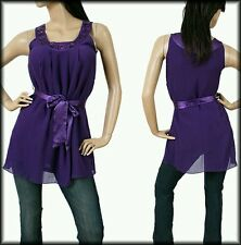Purple Sleeveless Jewelry Embroidered Neckline Chiffon Top, Blouse, Medium