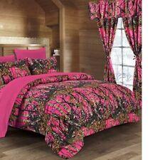 12 pc Hi Viz Pink Queen Comforter Sheets & Pillowcases with curtain set