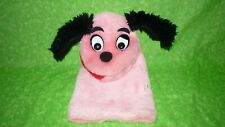 Vintage Daekor Design Plush Pink Puppy Pup DOG HAND PUPPET Toy Black Ears