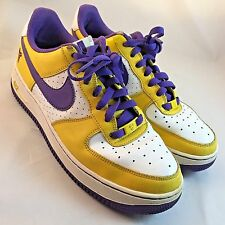 NIKE AIR FORCE 1 KOBE LAKERS 24 GS Size 7Y, 40 EUR Concord Grape, Yellow