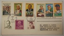1982 First Day of Issue Jackie Robinson Stamp W/ 8 Other Black Americans Stamps
